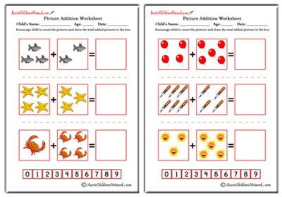 Picture Addition Worksheets - Aussie Childcare Network