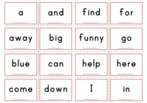 Dolch Flashcards - Pre Primer Sight Words
