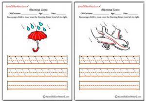 Slanting Lines Worksheets - Left to Right