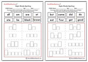 Primer Sight Words Shapes and Spellings