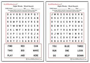 Pre Primer Sight Word Search