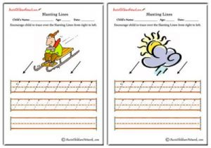 Slanting Lines Worksheets - Right to Left